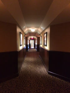 "This ""hall of magic"" leads into the Riverside room, which is full people, technology, demos and help."